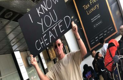 This man confronts his cheating partner at the Melbourne airport in the most HILARIOUS way