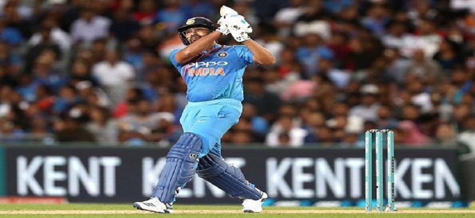 Rohit Sharma became the third player to hit 100 sixes in Twenty20 Internationals during the Auckland clash against New Zealand. (Image credit: Twitter)