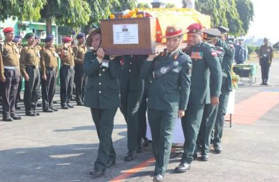 Mortal remains of Major Nisheet Dogra, who died in Sikkim avalanche, brought back home