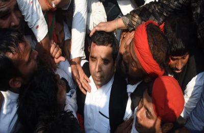 Police cane charge protesting Samajwadi supporters in Prayagraj, MP Dharmendra Yadav injured