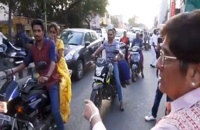 Puducherry LG Kiran Bedi turns traffic cop, scolds bikers for not wearing helmet