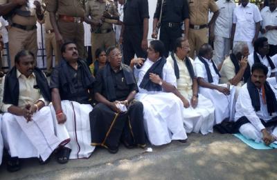 Puducherry Political Drama: CM stages protest outside Raj Bhawan against Kiran Bedi