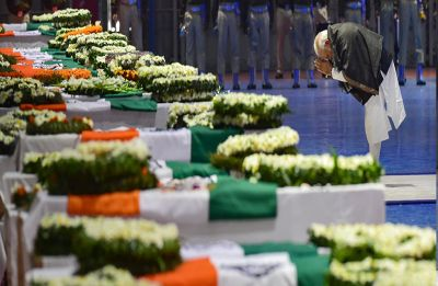 PM Modi, Rahul Gandhi, Arvind Kejriwal pay tribute to mortal remains of CRPF jawans