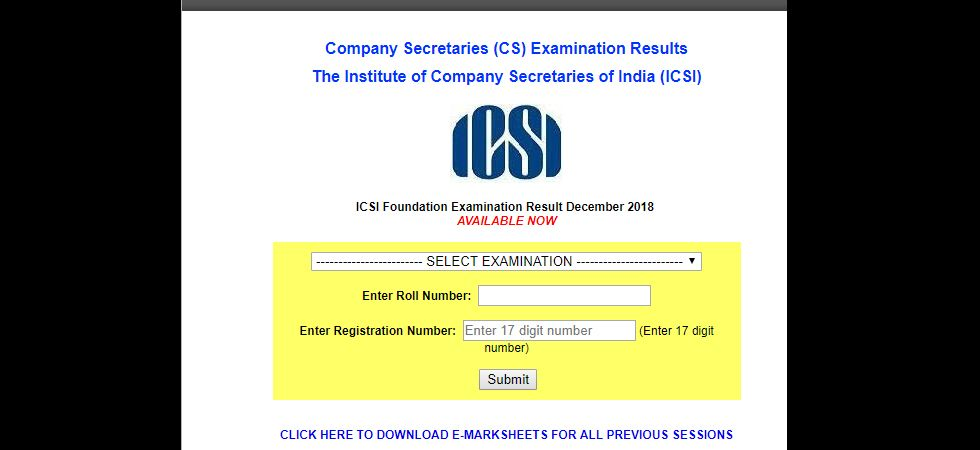 ICSI CS Foundation 2018 result announced