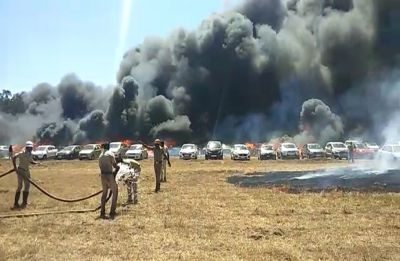 300 vehicles gutted in fire outside Bengaluru's Aero India show, grass and winds help it spread