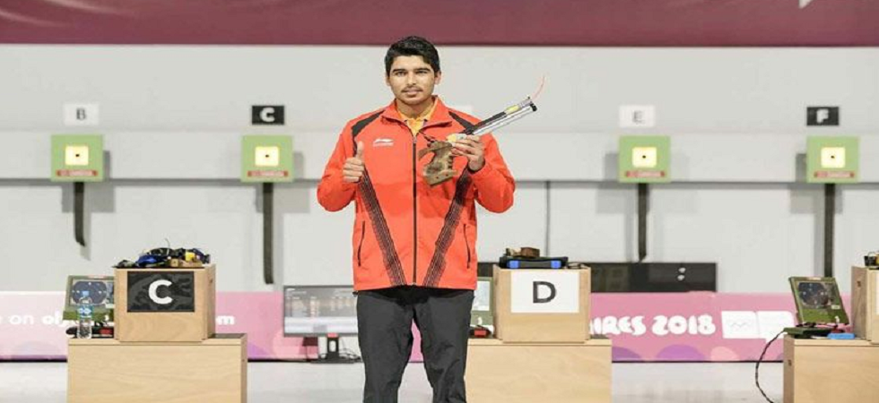 Saurabh Chaudhary creates world record, wins gold in 10m air pistol in ISSF Shooting World Cup. (Image credit: Twitter)