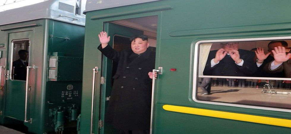 The sighting of Kim's armoured train, which has tinted black windows and a yellow stripe, has set off a flurry of train spotting. (Twitter/Korean Central TV grab)