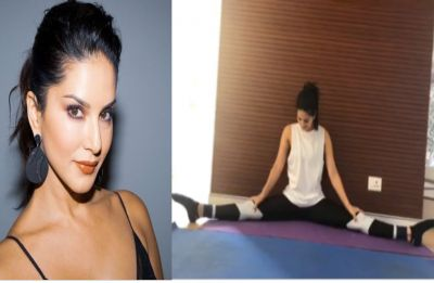 Sunny Leone wails with pain after perfecting a full split at gym