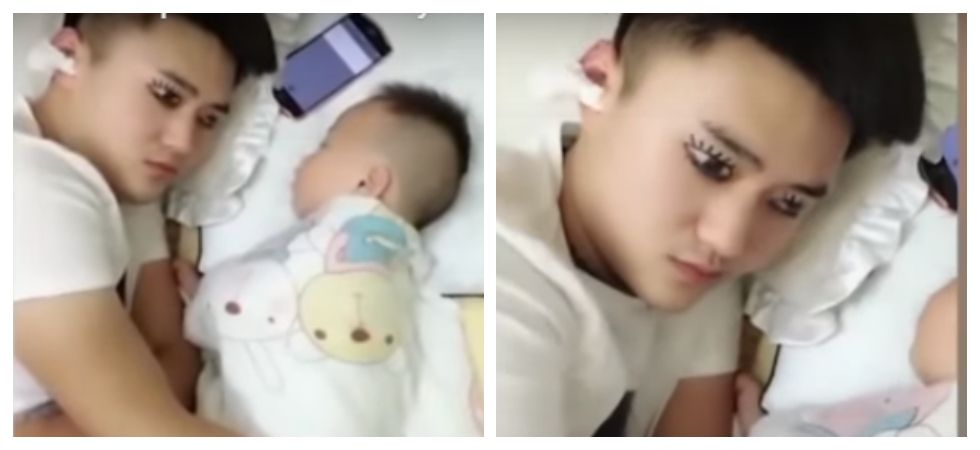 Dad tricks baby by painting fake eyes on eyelids to get a quick nap (Photo: Youtube)