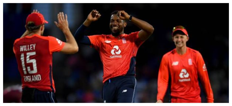Chris Jordan took 4/6 in two overs as England routed West Indies by 137 runs to take an unassailable 2-0 lead in the three-match series. (Image credit: WIPA Twitter)