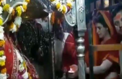 Priyanka Gandhi Vadra offers prayers at Vindhyavasini Devi temple in Mirzapur