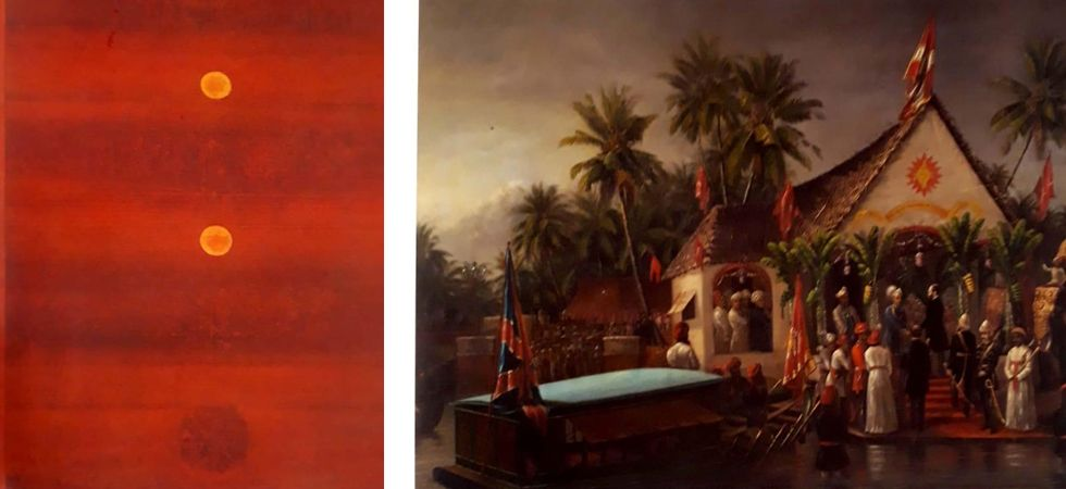 Untitled oil on canvas by VS Gaitonde (Left), Duke of Buckingham (Right)