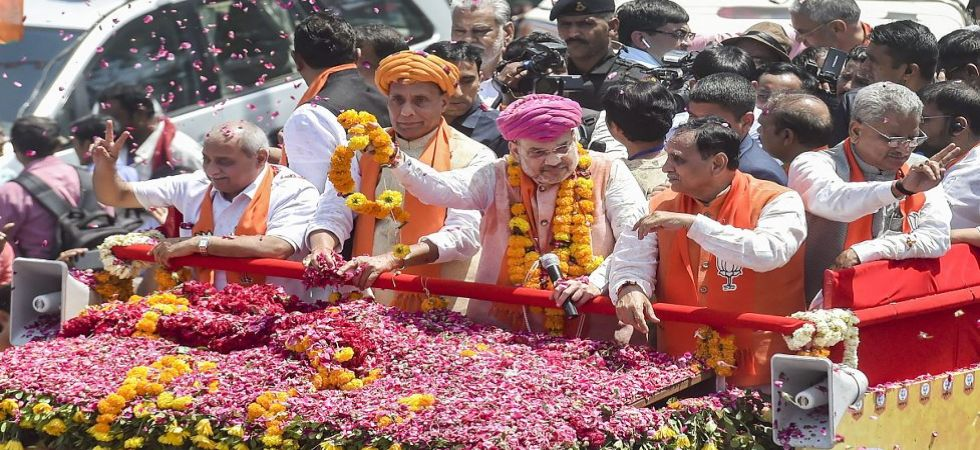 Amit Shah during a road show for his nomination filing from Gandhinagar constituency (Photo Source: PTI)