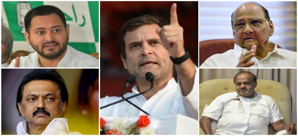 In pics: Congress president Rahul Gandhi, RJD leader Tejashwi Yadav, DMK president MK Stalin, NCP leader Sharad Pawar and Karnataka Chief Minister and JDS leader HD Kumaraswamy.