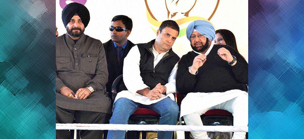 Congress president Rahul Gandhi with Punjab Chief Minister Amarinder Singh and Punjab Minister Navjot Singh Sidhu. (File photo: PTI)