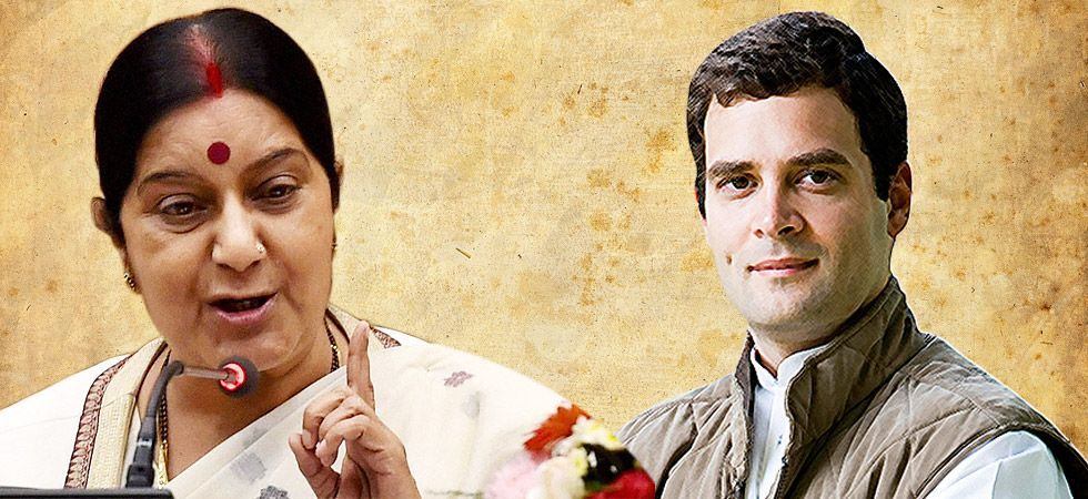Union Minister Sushma Swaraj (Left), Congress President Rahul Gandhi (Right)