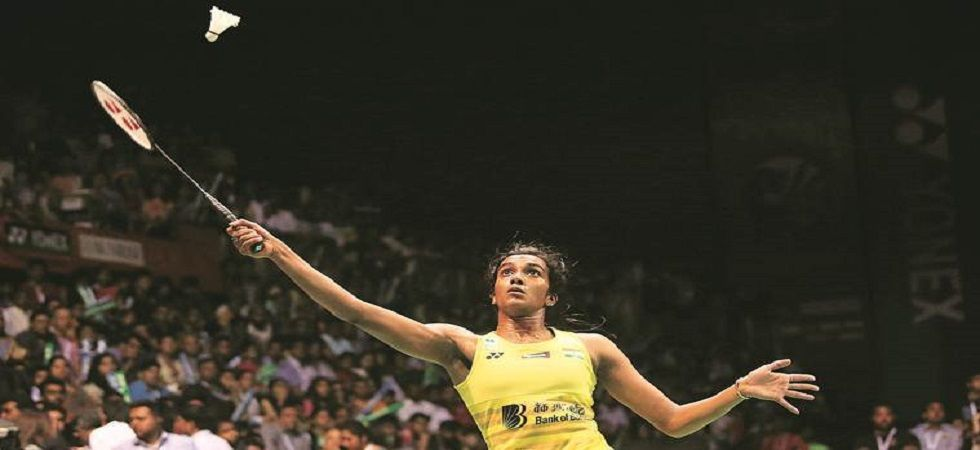 PV Sindhu entered the quarterfinal of the Singapore Open Badminton tournament with a straight sets win over Mia Blichfeldt. (Image credit: Twitter)