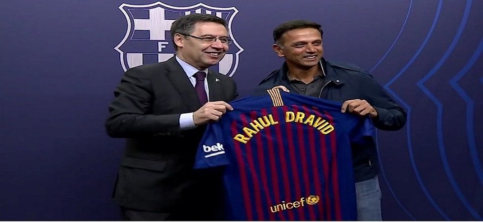 Rahul Dravid was in Spain and also visited Camp Nou for a La Liga game. (Image credit: Twitter)