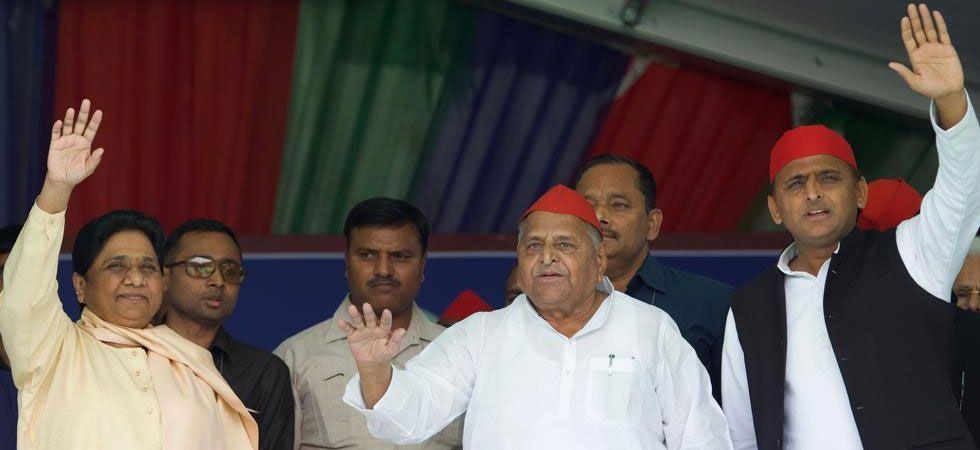 SP Chief Akhilesh Yadav (Right), Mulayam Singh Yadav (Centre) and BSP chief Mayawati (Left)