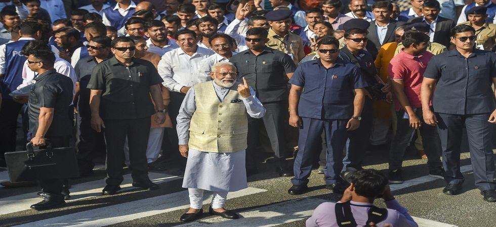 Before travelling to Odisha for the rally, PM Modi cast his vote in Ahmedabad. (Photo: PTI)