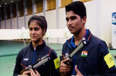 Manu Bhaker, Saurabh Chaudhary win gold in 10m Air Pistol Mixed team event in ISSF World Cup