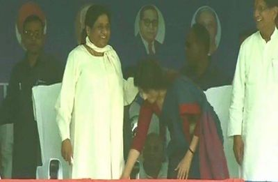 Watch: Dimple Yadav touches Mayawati's feet at SP-BSP joint rally in Kannauj