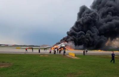 VIDEO | Burning Russian Aeroflot plane lands at Moscow airport, several passengers injured