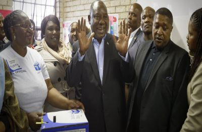 President Cyril Ramaphosa's ruling ANC win South Africa poll with absolute majority