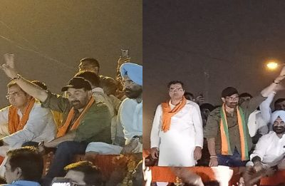 Sunny Deol adds star power to Parvesh Singh Verma's roadshow in West Delhi Hari Nagar