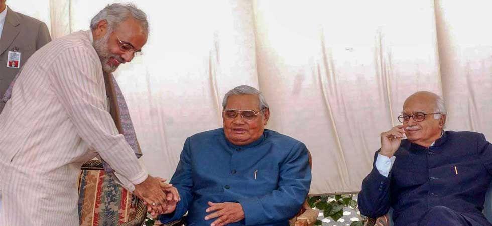 File photo of PM Modi with former prime minister Atal Bihari Vajpayee and LK Advani (Source: PTI)