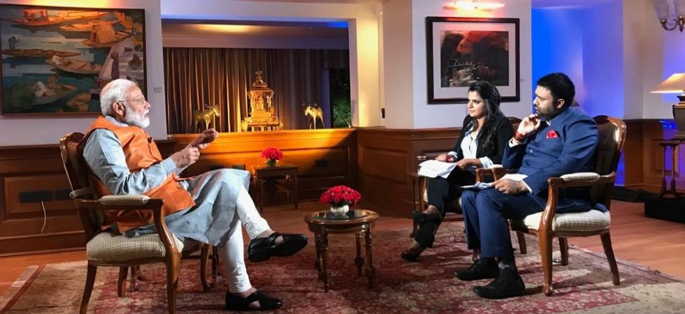 PM Narendra Modi interacts with News Nation's Deepak Chaurasia and Peenaz Tyagi.