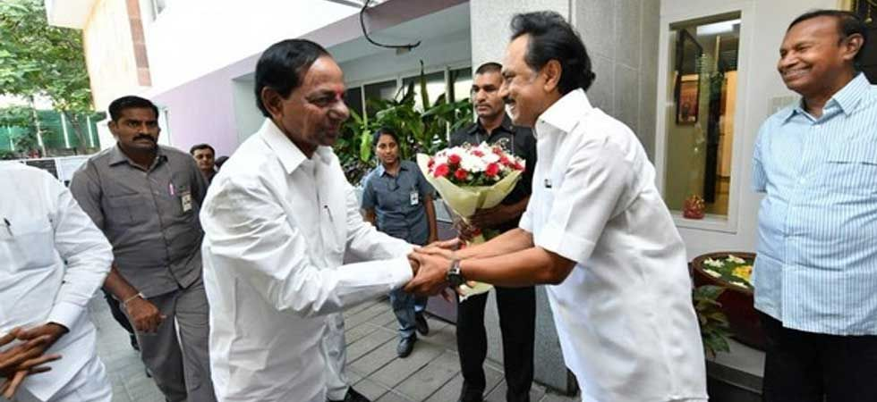 DMK president MK Stalin while meeting with Telangana Chief Minister KCR. (ANI Photo)