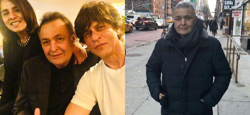 Shah Rukh Khan visits Rishi Kapoor and Neetu Kapoor in New York.