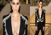 Kangana Ranaut's black open jacket look with plunging neckline gives edgy fashion rerun