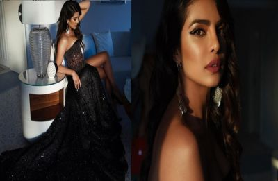 Priyanka Chopra makes heads turn at Cannes 2019 red carpet in thigh slit black sheer gown with plunging neckline