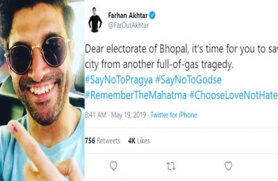 Farhan Akhtar asks Bhopal electorate to #ChooseLoveNotHate 7 days after polls; trolled big time