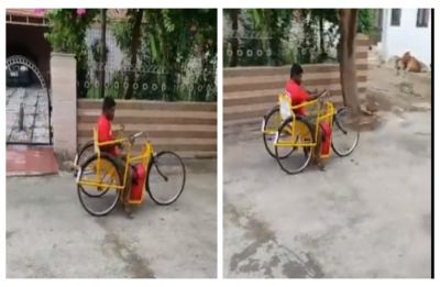 Differently-abled delivery boy against all odds delivers food in hand-pulled tricycle, WATCH inspiring video