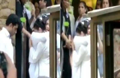 Watch VIDEO: Kajol breaks down in Aishwarya Rai Bachchan's arms at father-in-law VeeruDevgan's funeral