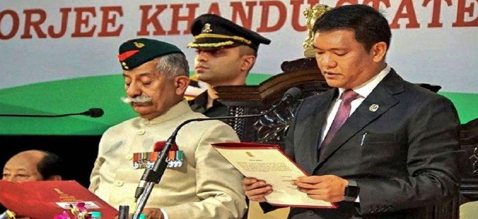 Senior BJP leader Pema Khandu takes oath as the 10th chief minister of Arunachal Pradesh. (PTI)