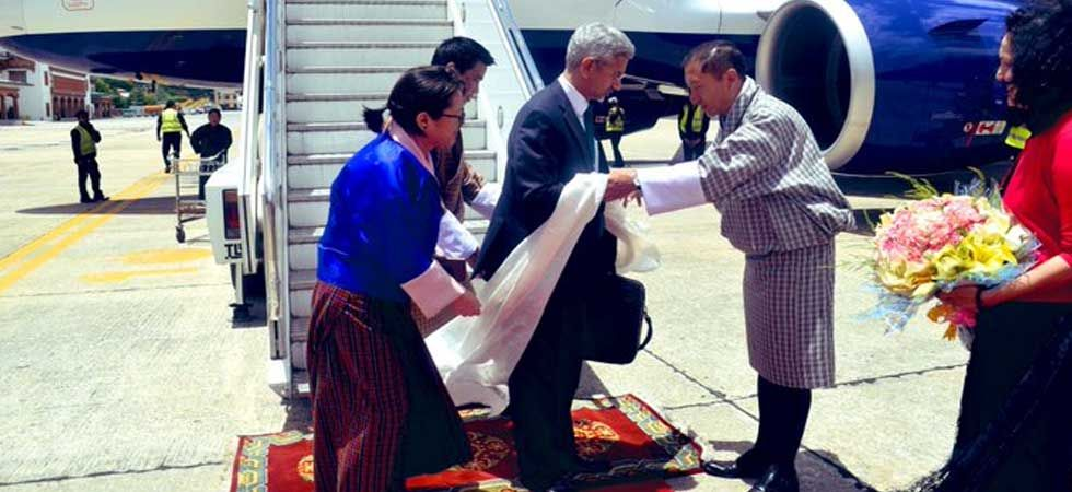 External Affairs Minister S Jaishankar was received by his Bhutanese counterpart Tandi Dorji. (Photo: Twitter/@DrSJaishankar)