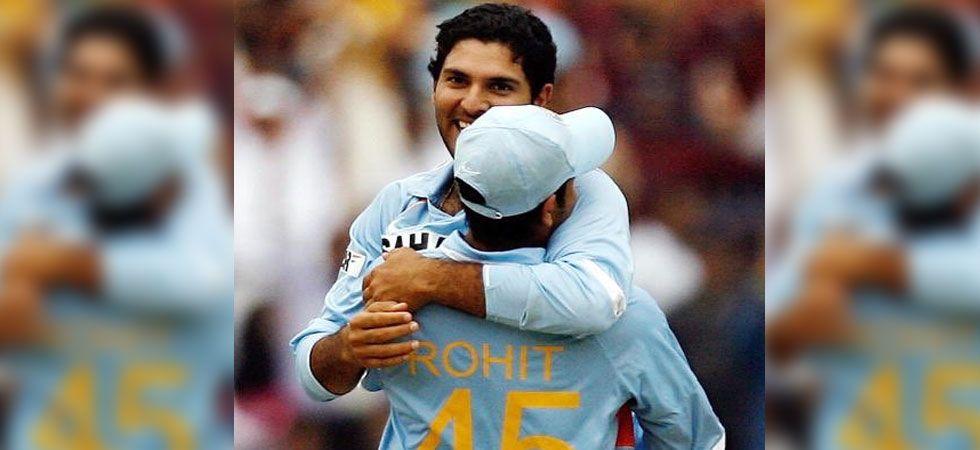 Yuvraj Singh hugging Rohit Sharma during a match. (Photo: Twitter/@ImRo45)
