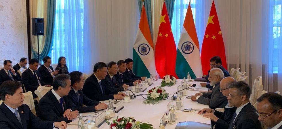 PM Modi holding delegation level talks with China President Xi Jinping. (Image Credit: ANI)