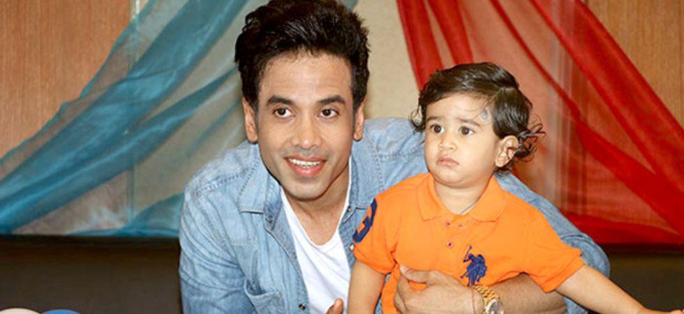 Tusshar Kapoor with son Laksshya.