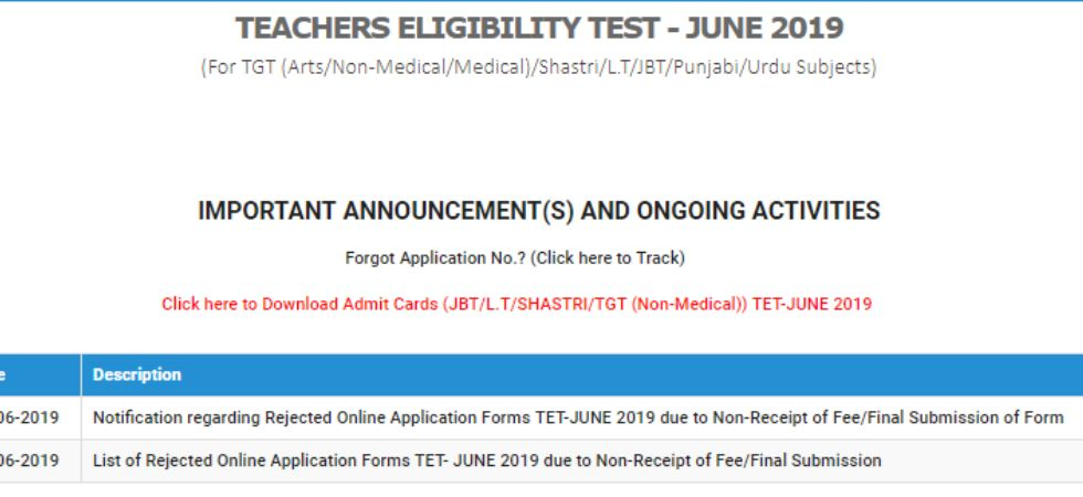 HP TET Admit Card 2019.