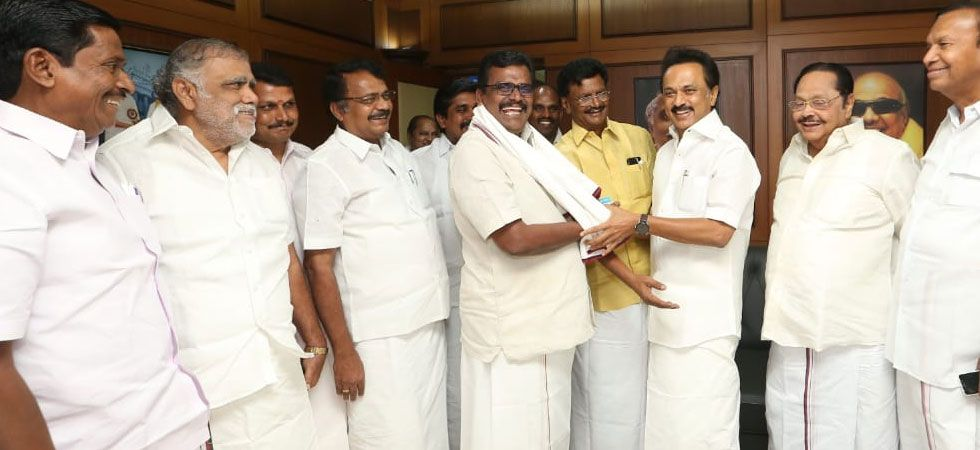 Thanga Tamilselvan (right of MK Stalin) joined DMK. (Photo: Twitter/@arivalayam)