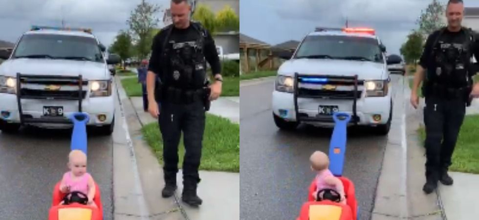 Cop 'pulls over' 10-month-old daughter for driving on wrong side.
