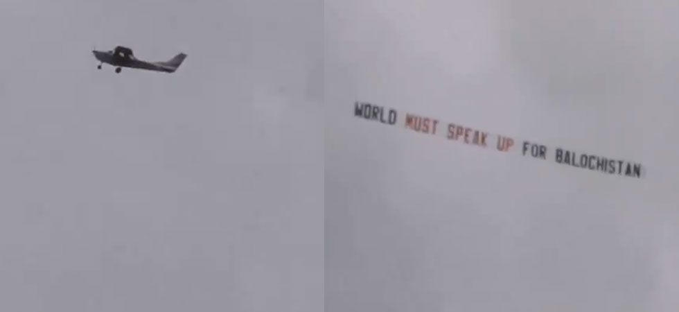 """The banner read, """"World must speak up for Balochistan,"""" a province in Pakistan. (Screen grab of the video)"""