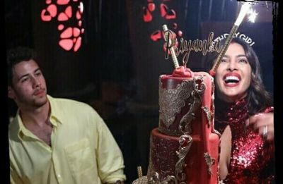 In Pics: Priyanka Chopra's red birthday cake with golden embellishments is the fanciest thing ever