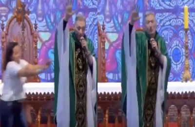 Woman pushes priest off stage for saying 'fat women don't go to heaven', video goes viral
