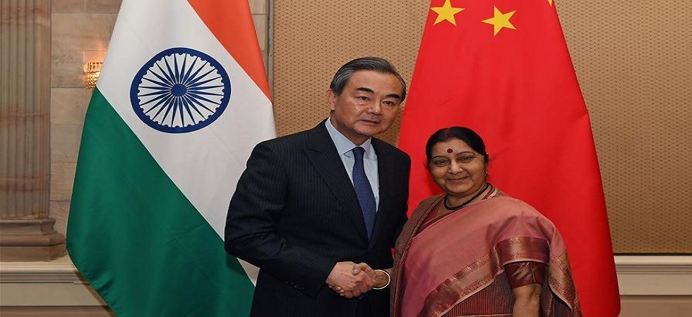 Chinese Foreign Minister Wang Yi meets former Indian external affairs minister Sushma Swaraj on June 4, 2018. (File